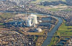 Grosskrotzenburg power station, main river Stock Photos