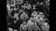Allied soldiers being briefed on warship Stock Footage