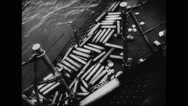 Shells of missile lying on allied warship Stock Footage