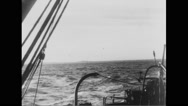Allied warship sailing in English Channel Stock Footage