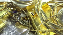 Old jewelry (with gold and silver coins) Stock Footage