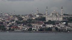 Istanbul Blue Mosque old city center from boat 4K 005 Stock Footage