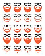 Ginger beard and glasses, hipster icons set - stock illustration