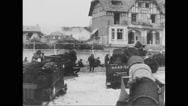 Allied military tanks reaching beach at Normandy Stock Footage
