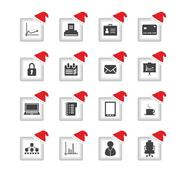 special flat ui icons with christmas design for web and mobile applications - stock illustration