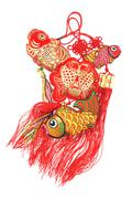 Auspicious fish ornaments Stock Photos