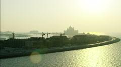 Stock Video Footage of Aerial sunset Palm Jumeirah Apartments Atlantis Hotel UAE