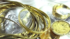 Old jewelry (gold and silver, dolly shot) Stock Footage