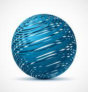Abstract blue sphere with realistic shadow Stock Illustration
