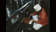Chef preparing Thanksgiving Day food for serviceman Stock Footage
