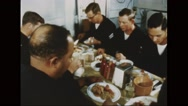 Servicemen having Thanksgiving Day dinner Stock Footage