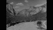 Tourists at Yosemite Valley in Yosemite National Park Stock Footage