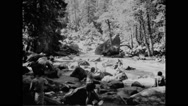 Tourists at Sierra Trail in Yosemite National Park Stock Footage
