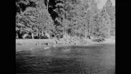 Tourists enjoying at Merced River in Yosemite National Park Stock Footage