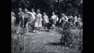 Campers walking with their luggage Stock Footage
