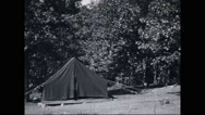 View of tent at campsite Stock Footage