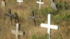 Crosses in Cemetery Colville Indian Reservation Stock Footage