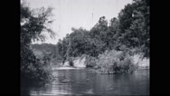 View of river near campsite Stock Footage