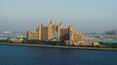 Stock Video Footage of Aerial Atlantis Hotel Dubai Palm Jumeirah UAE