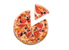 Delicious pizza with ham, tomatoes, and olives with a slice removed Stock Photos
