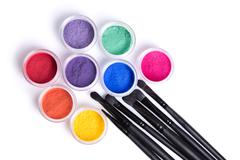 set of bright matte mineral eye shadows and brushes - stock photo