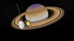 Cassini Satellite Saturn Mission 014 Stock Footage
