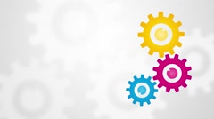 Color rotating gears with frosted glass on the background Stock Footage