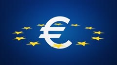 Euro currency symbol with stars loop Stock Footage