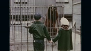 Children watching little Smokey in cage and William Boyd putting off fire Stock Footage