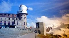 Astronomy Telescope in Gornergrat Zermatt, Alps Mountains, Switzerland Stock Footage