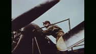Mechanic repairing engine of Boeing B-17 Flying Fortress Stock Footage