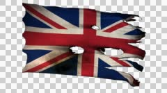 Great Britain perforated, burned, grunge glory flag loop alpha Stock Footage