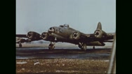 Boeing B-17 Flying Fortresses ready to take off from airfield Stock Footage