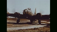Boeing B-17 Flying Fortress ready to take off from airfield Stock Footage