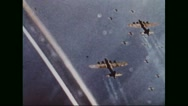 Boeing B-17 Flying Fortresses flying in formation while on the way to Germany Stock Footage