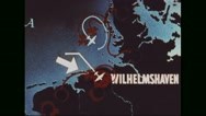 Map of Germany displaying the plan to successfully bombard Wilhelmshaven Stock Footage