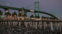 Vincent Thomas Bridge, Port of Los Angeles Time Lapse Stock Footage