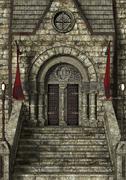 fairytale castle - stock illustration