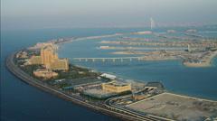 Stock Video Footage of Aerial Atlantis Hotel Resort Dubai Palm Jumeirah Persian Gulf UAE