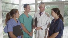 4K Portrait of smiling medical team in modern hospital Stock Footage