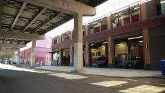 Urban Street Industrial Bridge Stock Footage