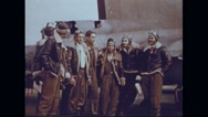 Bombardiers standing in front of Boeing B-17 Flying Fortress Stock Footage