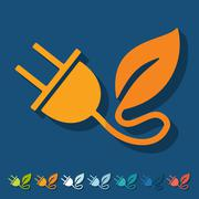 Flat design: eco plug leaf - stock illustration