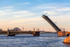 saint-petersburg, russia - circa june 2014: opened span of the trinity bridge - stock photo