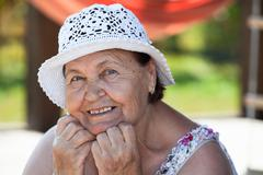 Joyous happy caucasian senior woman face Stock Photos