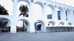 The Lapa Arch (Arcos da Lapa) in Rio de Janeiro, Brazil Stock Footage