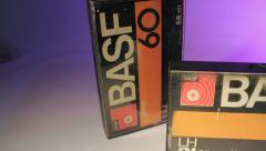 Audio Music Cassette Tape. Stop motion. Music. Background. Stock Footage