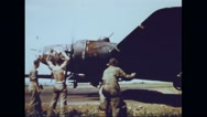 Bomber crew cheering bombardiers after winning victory over Germany Stock Footage
