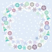 Merry Christmas Card, turquoise, lilac and purple. Round wreath for text. vector - stock illustration