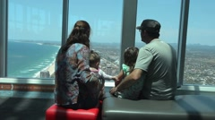 Visitors family visit in Q1 Building SkyPoint Observation Deck Stock Footage